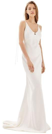 Women's Topshop Bride V-Neck Satin Sheath Gown