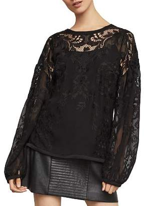 BCBGMAXAZRIA Floral-Embroidered Bishop-Sleeve Top