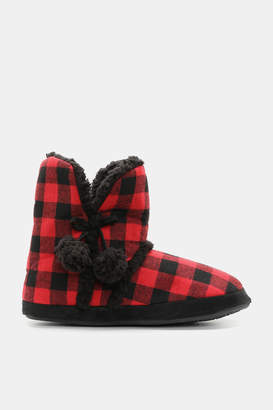 Ardene Plaid Sherpa Lined Boot Slippers