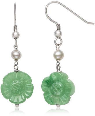 FINE JEWELRY Green Jade Cultured Freshwater Pearl Sterling Silver Flower Drop Earrings