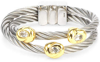 Charriol White Topaz Accent Double Cable Ring in Stainless Steel and 18k Gold-Plated Sterling Silver