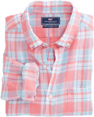 Vineyard Vines Atlantis Club Plaid Classic Linen Murray Shirt