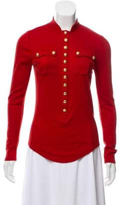 Balmain Long Sleeve Button-Up Top