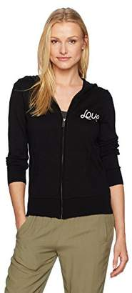 Chaser Women's Cotton Cashmere L/s Zip Front Love/Heart Hoodie