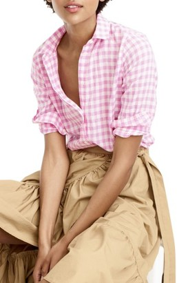 Women's J.crew Crinkle Gingham Boy Shirt $59.50 thestylecure.com