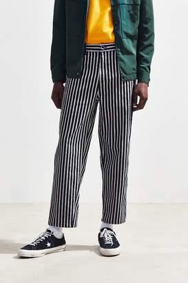 BDG Black + White Striped Straight Cropped Jean