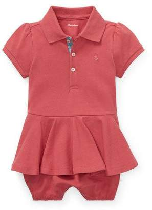 Ralph Lauren Childrenswear Pique Peplum Polo Shortall, Size 3-18 Months