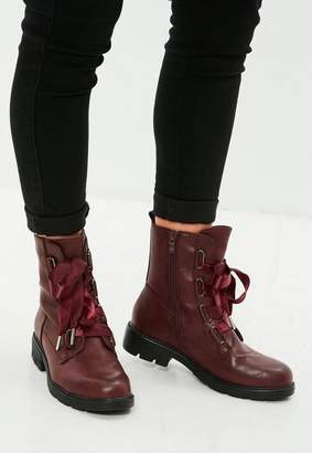 Missguided Burgundy Ribbon Lace Up Biker Boots