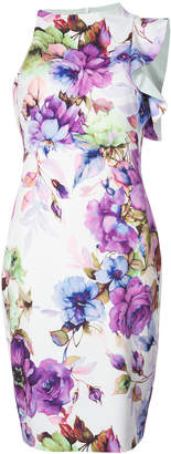 Black Halo floral print fitted dress
