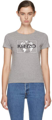 Kenzo Grey Logo World T-Shirt