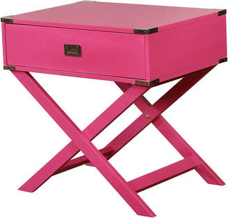 Linon Peggy X Base Pink Accent Table
