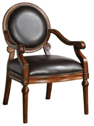 Furniture of America Baselle Padded Leatherette and Hand-Carved Frame Arm Chair