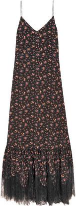 McQ Alexander McQueen - Lace-trimmed Floral-print Silk Crepe De Chine Maxi Dress - Black $950 thestylecure.com