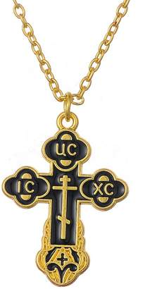 Church's Myshape Slavic Pendant Russian Orthodox Crucifix Cross Eastern Necklace Men Religious Jewelry