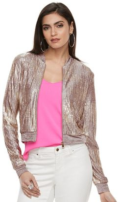 Women's Jennifer Lopez Metallic Crop Bomber Jacket $68 thestylecure.com