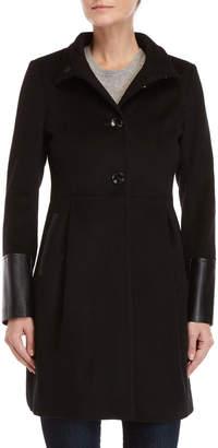 Via Spiga Wool Faux Leather-Trimmed Coat