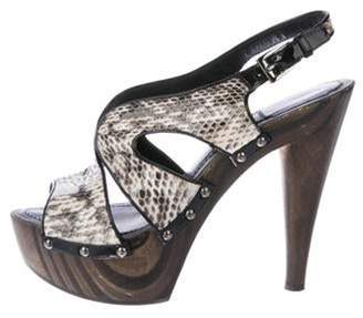 Christian Louboutin Snakeskin Platform Sandals Grey Snakeskin Platform Sandals