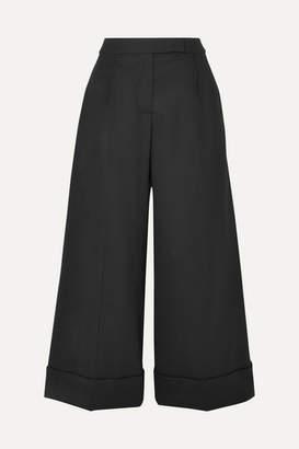 Simone Rocha Cropped Ruffle-trimmed Cotton-twill Wide-leg Pants - Black