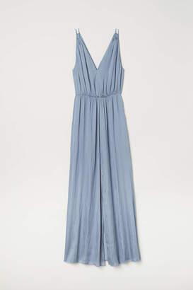 H&M Long V-neck Dress - Light blue-gray - Women