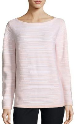 Lafayette 148 New York Wool Flannel Striped Sweater $498 thestylecure.com