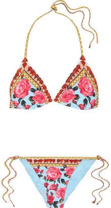 Dolce & Gabbana Printed Triangle Bikini - Pink
