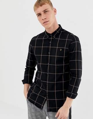 Farah Burrow Window Pane Check Shirt in Black