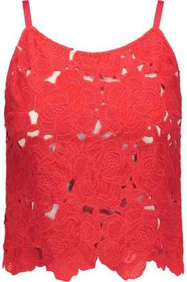 Alice + Olivia Alanis Cropped Floral-Crochet Top