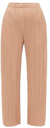 Pleats Please Issey Miyake Split Cuff Pleated Trousers - Womens - Beige