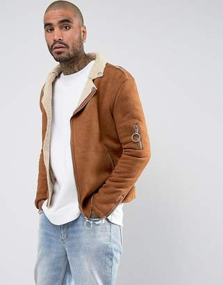 Sixth June Faux Shearling Biker Jacket In Tan