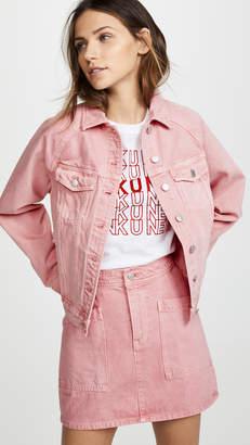 Madewell The Raglan Oversized Jean Jacket in Dusty Rose