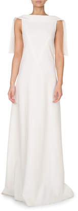 Givenchy Silk Caplet High-Neck Gown