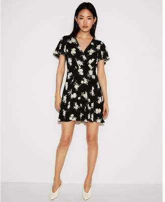 Express petite floral surplice flutter sleeve fit and flare dress