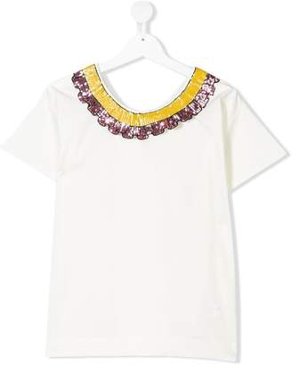 Miss Grant Kids TEEN sequinned collar T-shirt