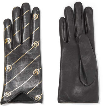 Gucci Printed Leather Gloves - Black