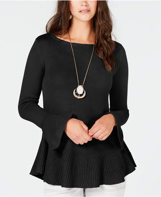 Style&Co. Style & Co Petite Bell-Sleeve Peplum Sweater