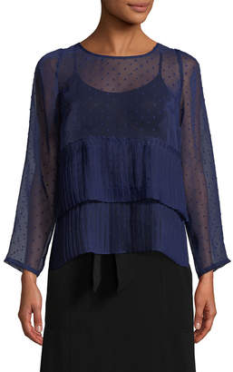 Plenty by Tracy Reese Pleated Pindot Blouse