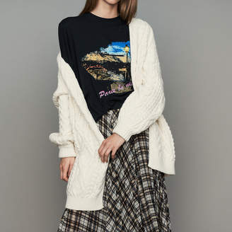 Maje Oversize cardigan in twisted mesh knit