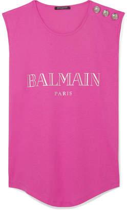 Balmain Button-embellished Printed Cotton-jersey Tank - Pink