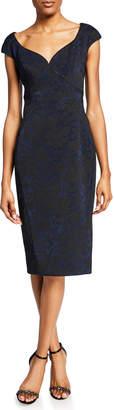 Zac Posen Metallic Brocade Cap-Sleeve Cocktail Dress