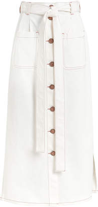 See by Chloe Button Front Tie Denim Skirt