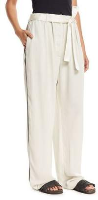 Brunello Cucinelli Wide-Leg Belted Pants with Monili Track Stripes