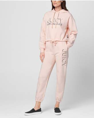 Juicy Couture JXJC Fleece Drawstring Waist Cropped Hooded Pullover