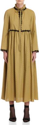 Giamba Tie-Neck Eyelet Maxi Dress