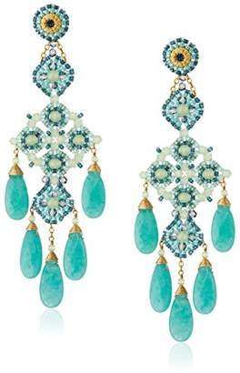 Miguel Ases Prehnite and Green Quartz Chandelier Drop Earrings
