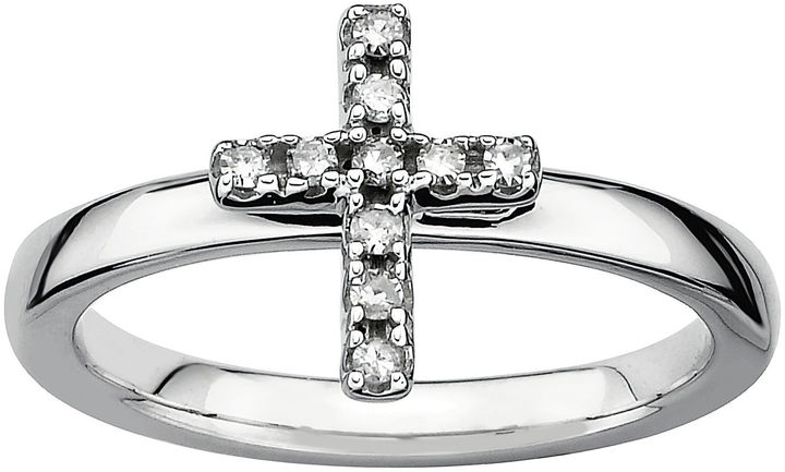 JCPenney FINE JEWELRY 1/10 CT. T.W. Stackable Diamond Cross Ring Silver