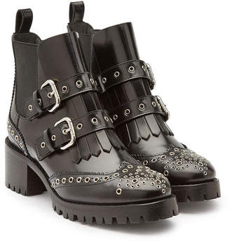 RED Valentino Leather Ankle Boots with Brogue Detailing