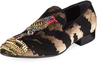 Alexander McQueen Men's Bird-Embellished Velvet Formal Slippers