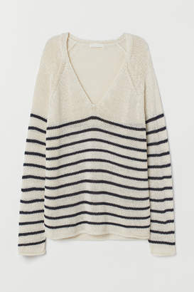 H&M Loose-knit Sweater - White