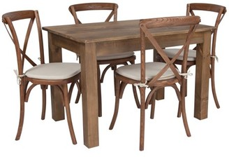 "Flash Furniture 46"" x 30"" Antique Rustic Farm Table Set with 4 Cross Back Chairs and Cushions"