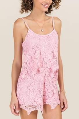 francesca's Irene Big Lace Blouse Romper - Pink
